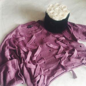 fashion nova | unique lace up pink mauve sweater